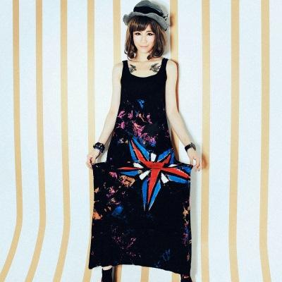 古著 中大尺碼 一顆五角芒星刷色細肩棉洋裝