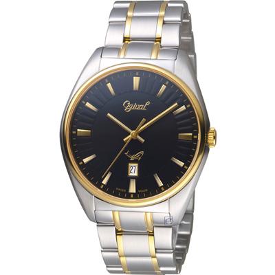 Ogival 愛其華知性韻調時尚紳士錶(350-01MSK)雙色X黑/40mm