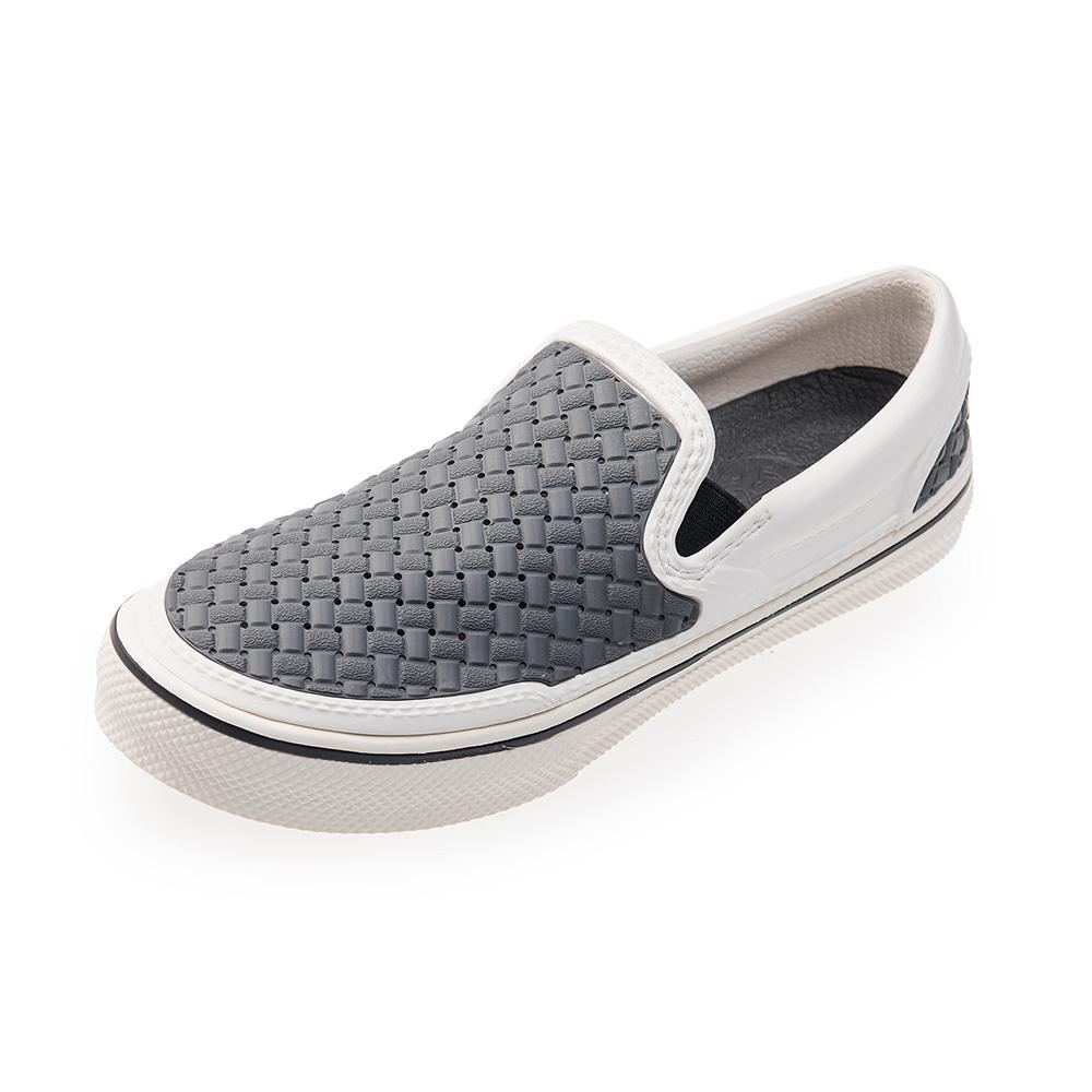 (男/女)Ponic&Co美國加州環保防水編織懶人鞋-白灰