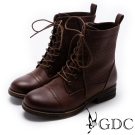 GDC-騎士風格綁帶擦色低跟短靴-棕色