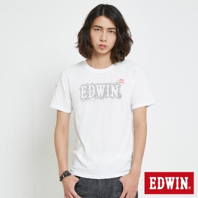 EDWIN 堆疊斑駁LOGO印花T恤-男-白色