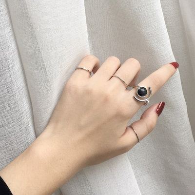 ACUBY-五件組韓風黑石紋戒指