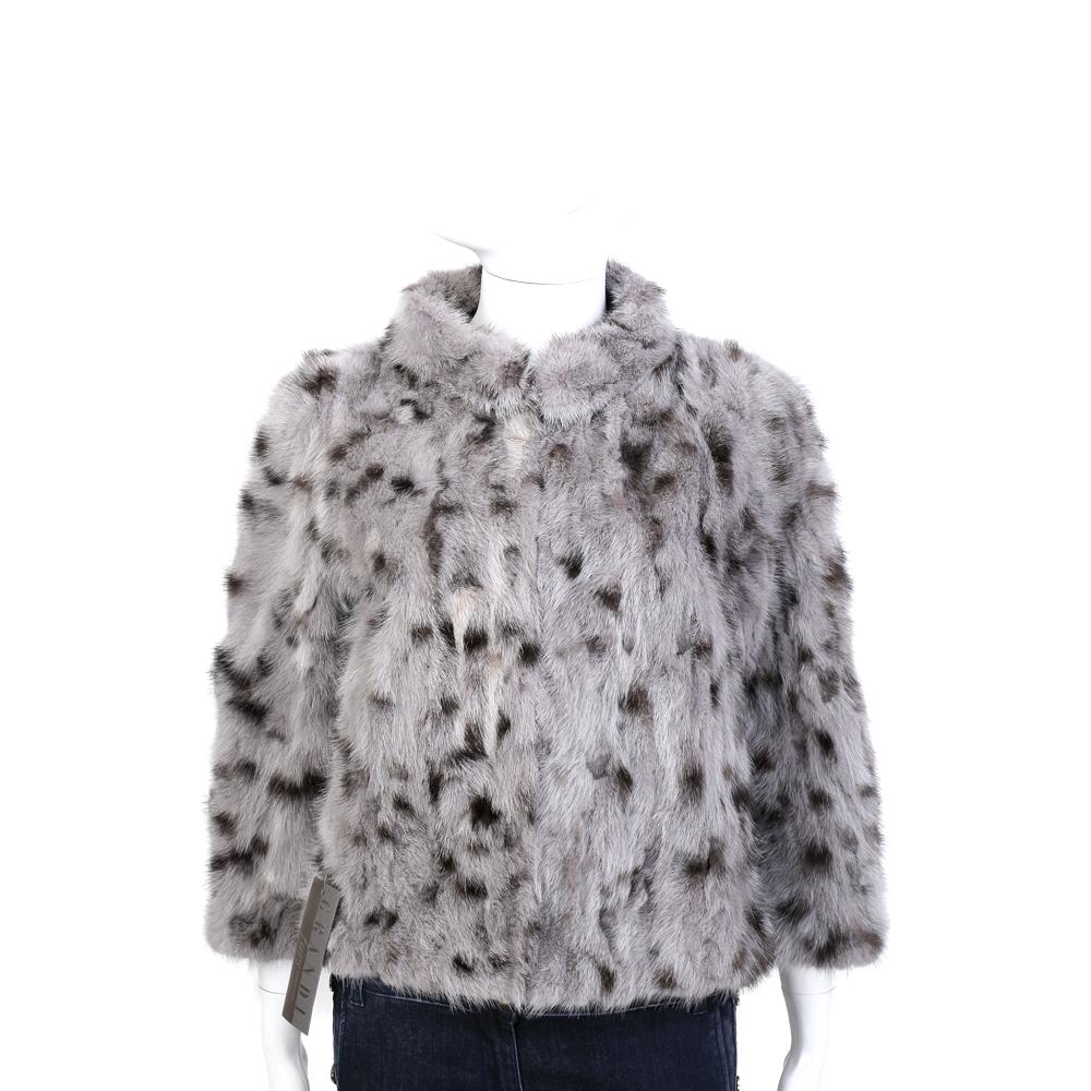 GRANDI furs 灰耦色立領設計皮草外套