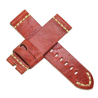 【手表達人】Panerai 沛納海代用進口錶帶-鱷魚紋/磚紅/ 24 mm