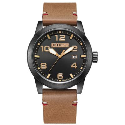 Jeep Spirit  自然率性休閒皮帶錶-銀框黑x淺咖啡色/46mm
