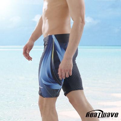 Heatwave熱浪 男泳褲 七分馬褲-湖海藍