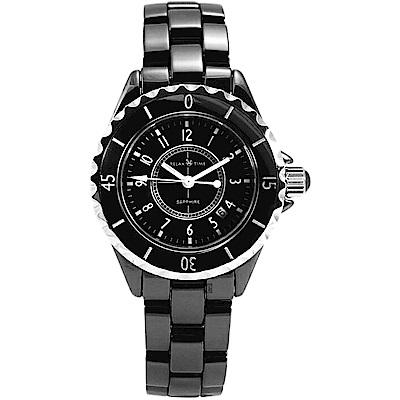 RELAX TIME 紐約時尚陶瓷女錶-黑/35mm