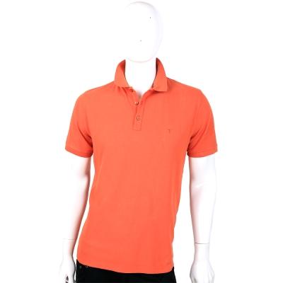 TRUSSARDI 橘色素面短袖POLO衫
