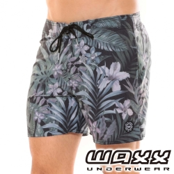 WAXX熱浪系列-灰色空間快乾型男海灘褲(15英吋)