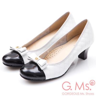 G.Ms. MIT系列-菱格車線牛皮蝴蝶結高跟鞋-白色