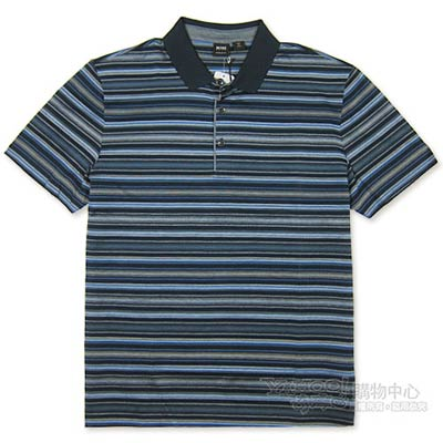 HUGO BOSS 黑標藍黑針織紋POLO男衫(黑)