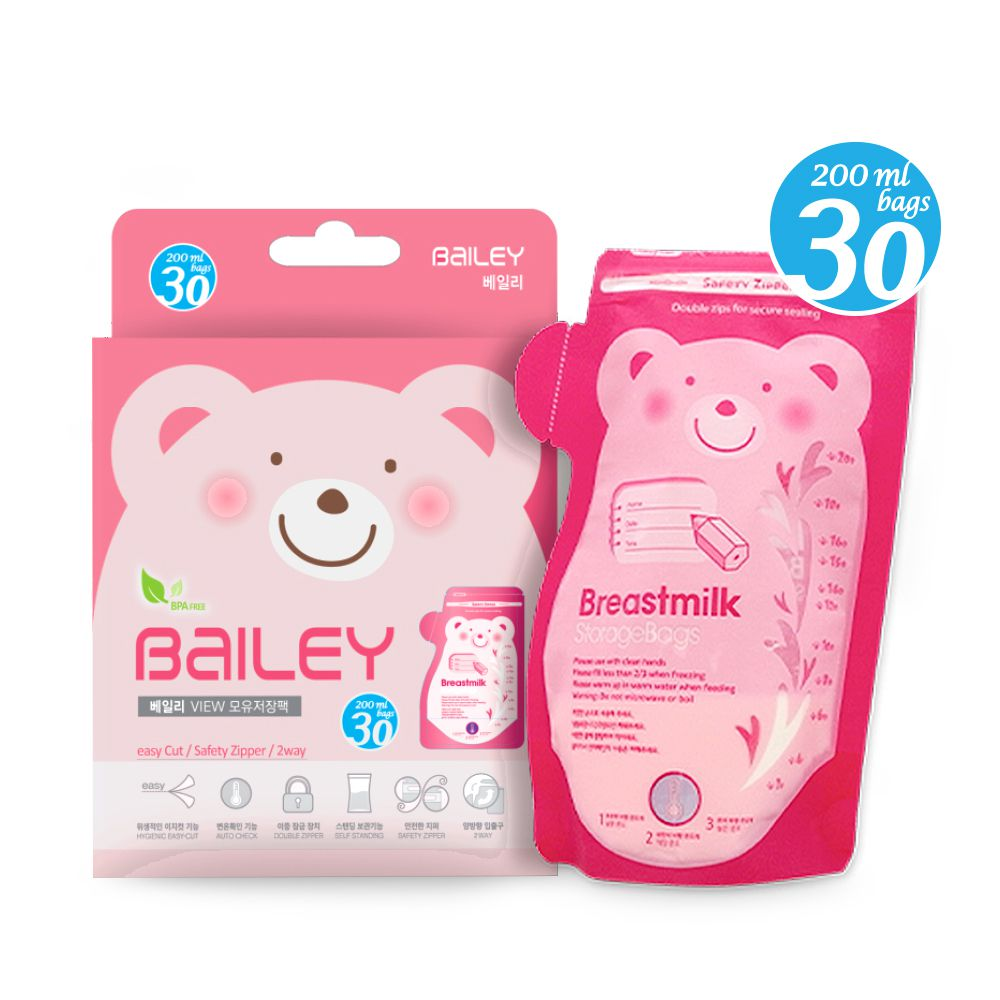 韓國BAILEY貝睿 母乳儲存袋(壺嘴型) 200ml 30入
