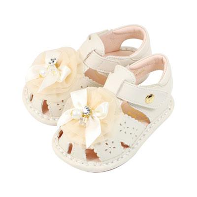 Swan天鵝童鞋-馬卡龍蝴蝶結玫瑰花朵寶寶涼鞋 1539 -米