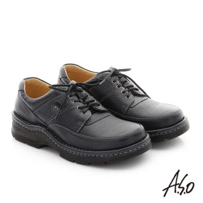 A.S.O 抗震雙核心 摔花牛皮綁帶奈米紳士鞋 深藍色