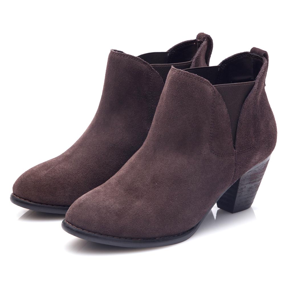 G.Ms. 牛麂皮拼接鬆緊帶造型粗跟踝靴-深咖啡