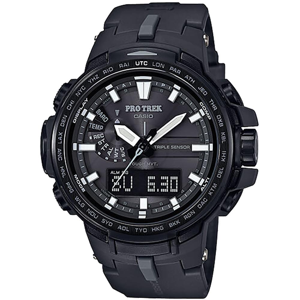 CASIO 卡西歐 PRO TREK 專業登山太陽能電波手錶-黑/58mm @ Y!購物