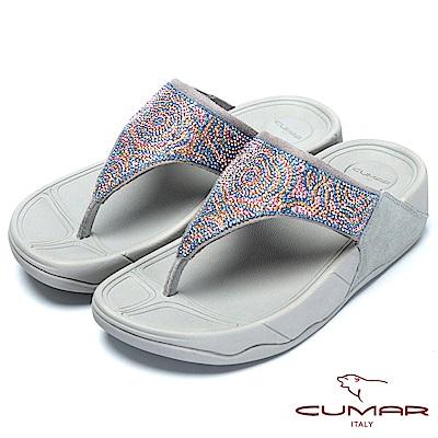 CUMAR樂活時尚花朵水鑽排列超舒適厚底夾腳鞋-灰色