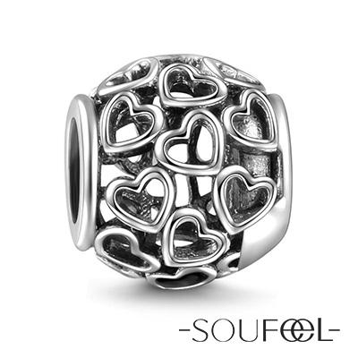 SOUFEEL索菲爾 925純銀珠飾 心心相印 串珠