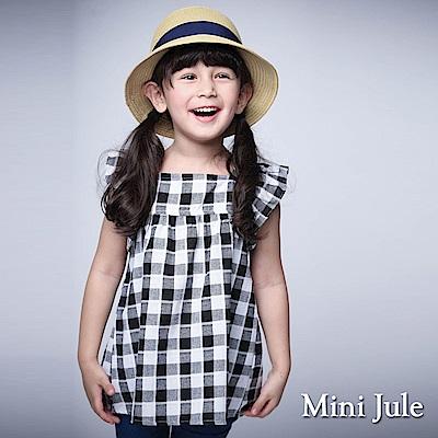 Mini Jule 童裝-上衣 黑白格後綁帶荷葉袖上衣(黑)