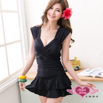 天使霓裳 沁涼豔夏 一件式連身泳衣(黑M~XL)