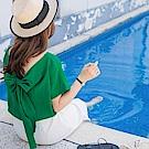 挖低露背綴立體蝴蝶結亮彩純色連袖上衣-OB大尺碼