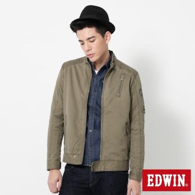 EDWIN 肩繡字騎士風防寒外套-男-橄欖綠