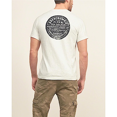 A&F 經典徽章刷破設計口袋短袖T恤-米白色 AF Abercrombie