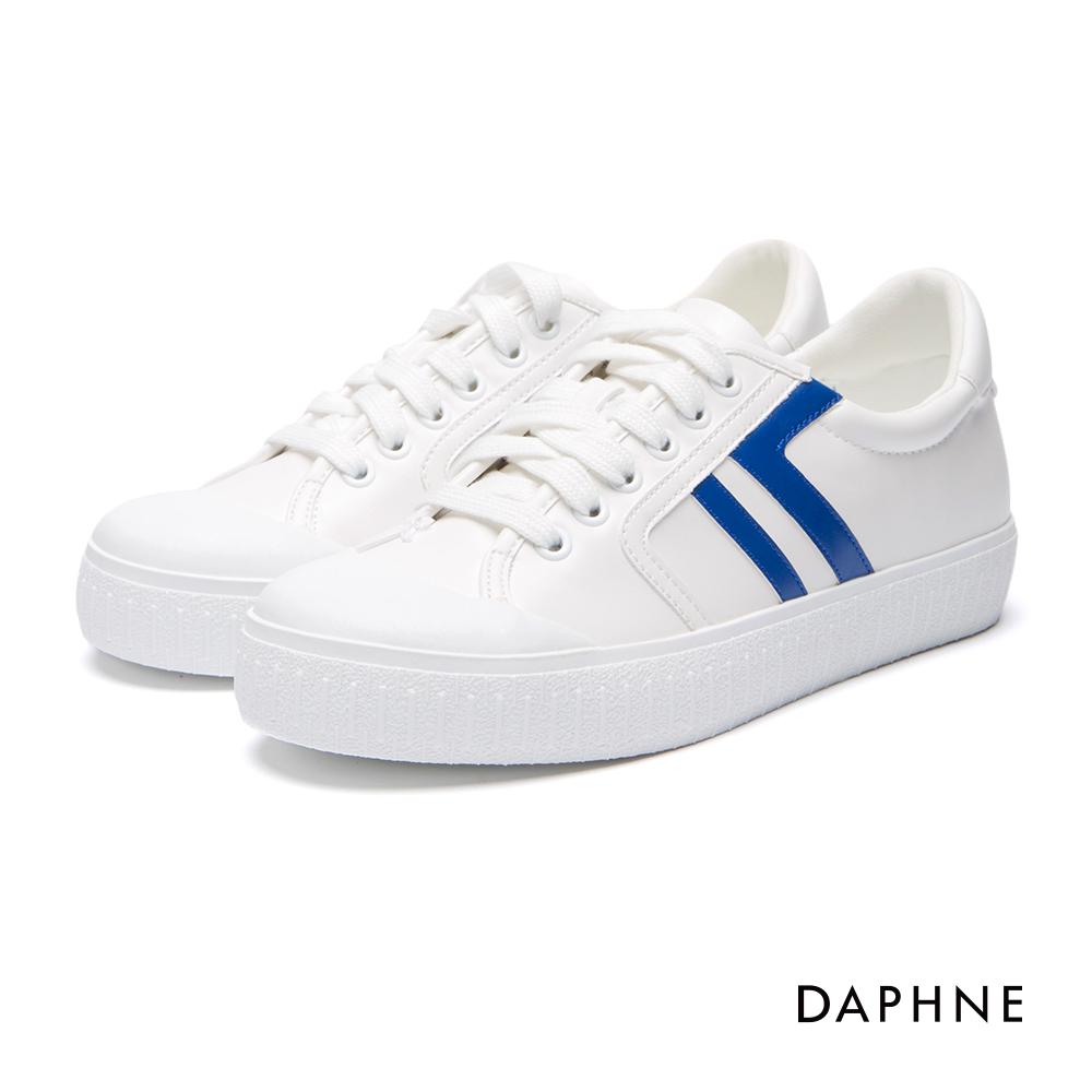 達芙妮DAPHNE休閒鞋-拼色線條繫帶內增高休閒鞋-藍
