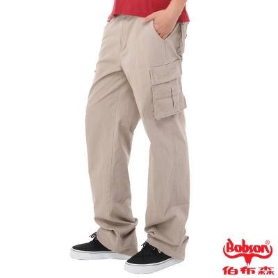 【BOBSON】男款休閒多口袋直筒褲(卡其72)