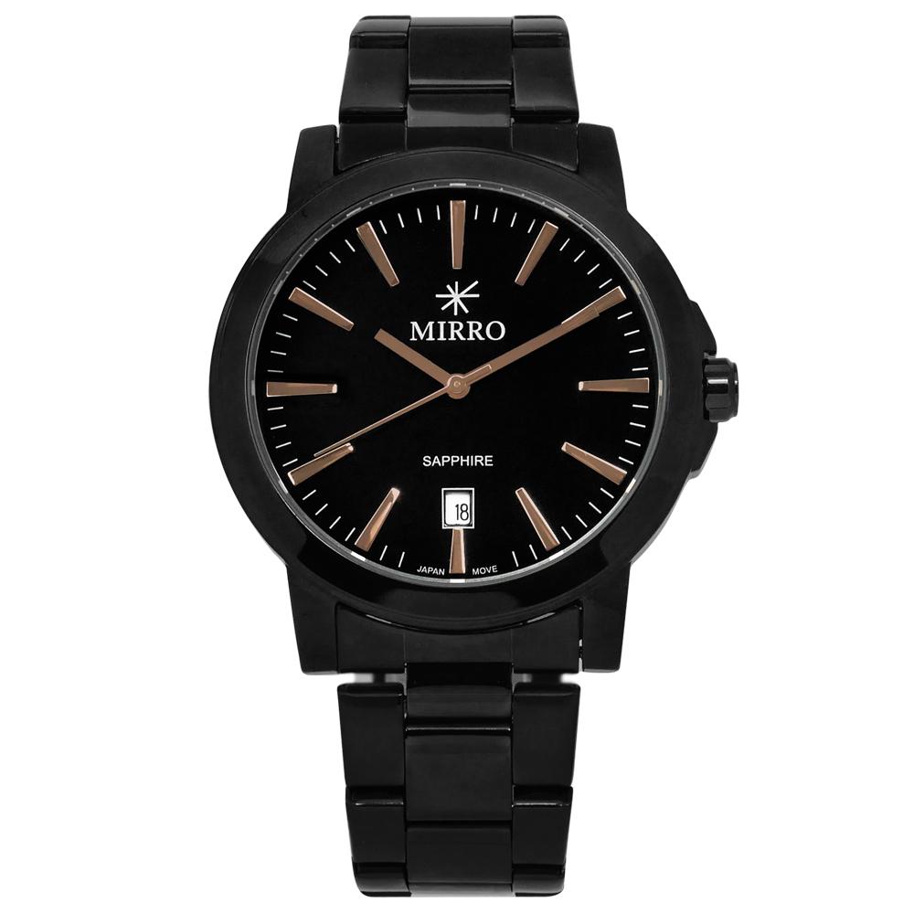 MIRRO 米羅 浪漫時刻藍寶石水晶玻璃日期不鏽鋼手錶- 鍍黑/41mm