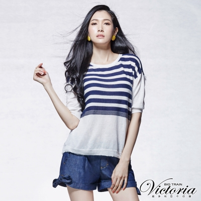 Victoria 條紋落肩五分袖線衫-女-白底藍條