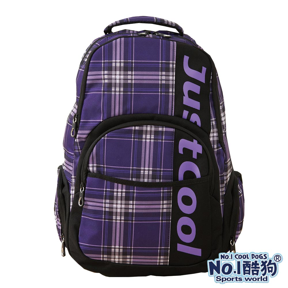 CoolDogs酷狗 經典學院風 戶外休閒運動搭色格紋後背包(紫格紋)7800-182D1