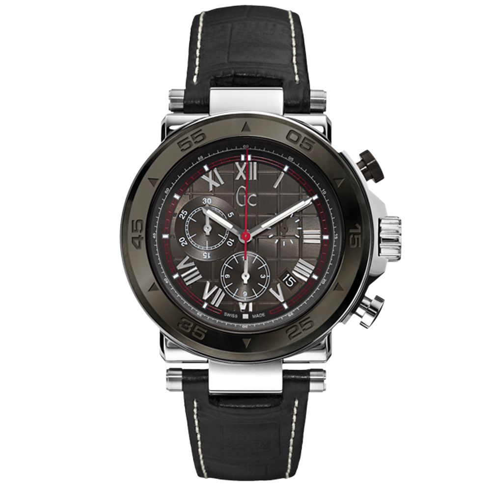 Gc 精密堡壘三眼計時都會腕錶-黑/45mm