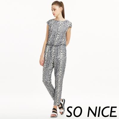 SO-NICE率性豹紋連身褲