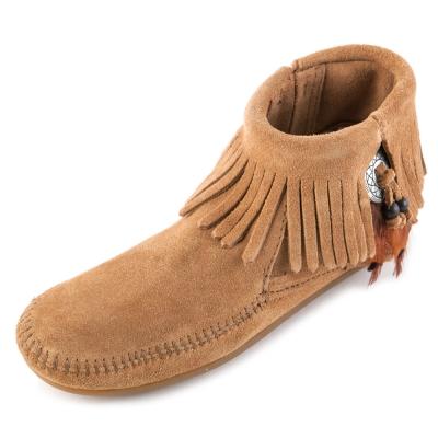 MINNETONKA-FEATHER麂皮流蘇羽毛踝靴-棕色