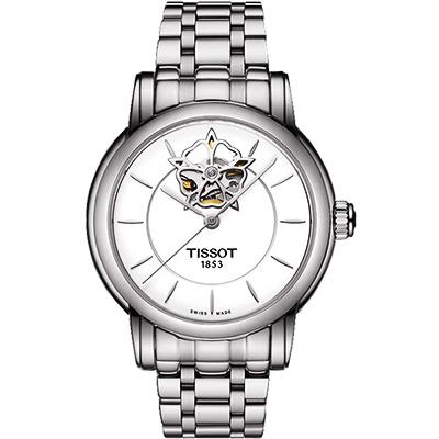 TISSOT Lady Heart 花朵鏤空機械腕錶-銀/35mm