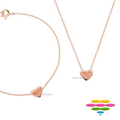 彩糖鑽工坊 桃樂絲 Doris系列 銀鍍玫瑰金項鍊&手鍊套組