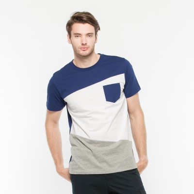 Hang Ten - 男裝 - 圓領拼接撞色T恤 - 藍