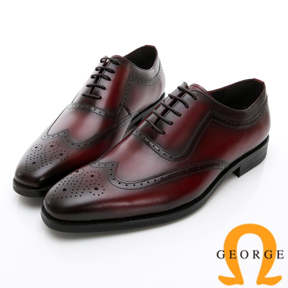 Amber 手工漸層雕花牛津鞋紳士鞋皮鞋-酒紅