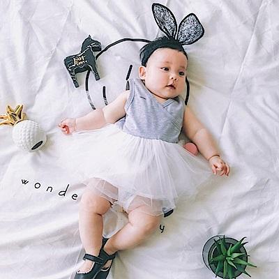 Baby unicorn 灰色網紗澎裙無袖洋裝