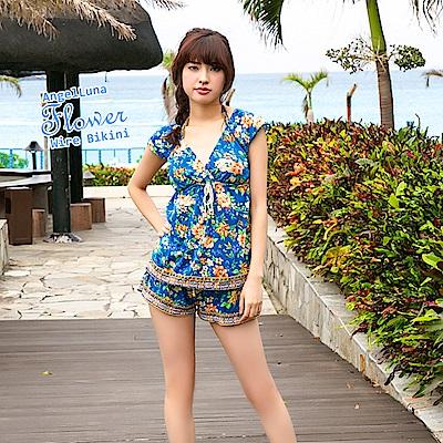 【AngelLuna日本泳裝】度假風情四件式比基尼泳衣-深藍V領