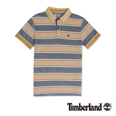Timberland-男款黃黑色拼接刺繡短袖Pol