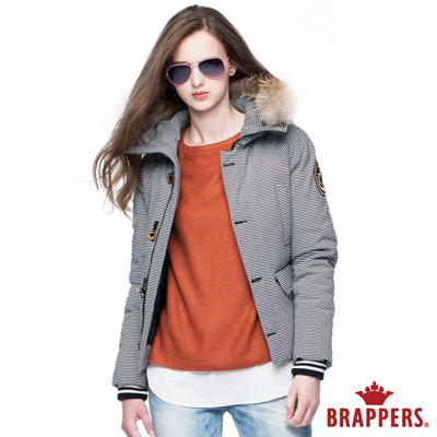 BRAPPERS 女款 女用條紋連帽羽絨外套-黑白條紋