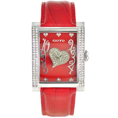 GOTO 心鑽魔力晶鑽腕錶-紅/34mm