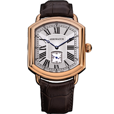 AEROWATCH 羅馬復刻紳士小秒針機械腕錶-玫瑰金框x咖啡/42mm