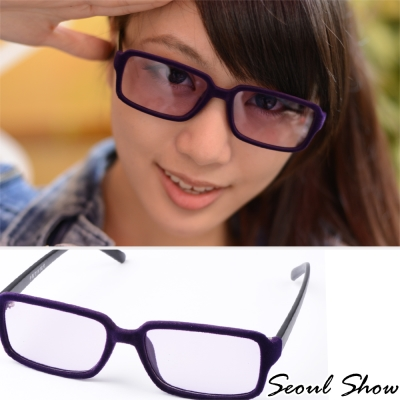Seoul-Show-時尚亮眼毛絨-方框平光眼鏡-303紫色