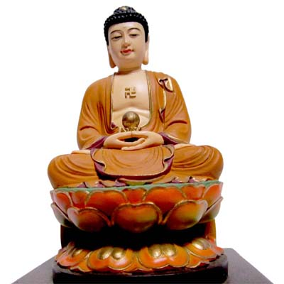 【養慧軒】金剛砂陶土精雕佛像--釋迦牟尼佛(彩繪‧含木製底座)