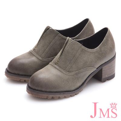 JMS-英倫雅緻造型鬆緊帶V口牛津鞋-墨綠色