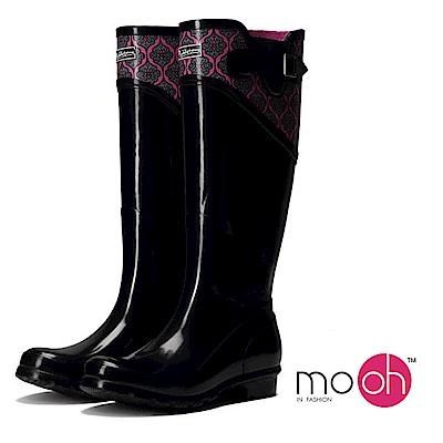mo.oh愛雨天-拚色花紋搭扣長筒雨鞋