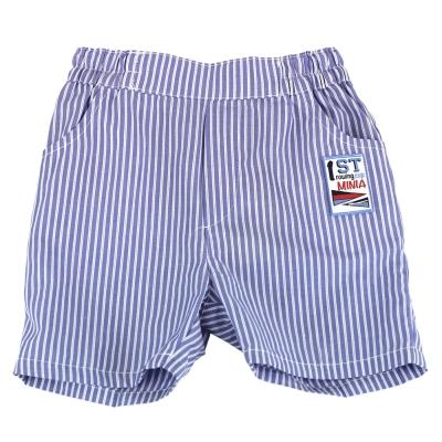 愛的世界 MYBABY 賽艇純棉直條紋五分褲-藍/<b>2</b>~4歲